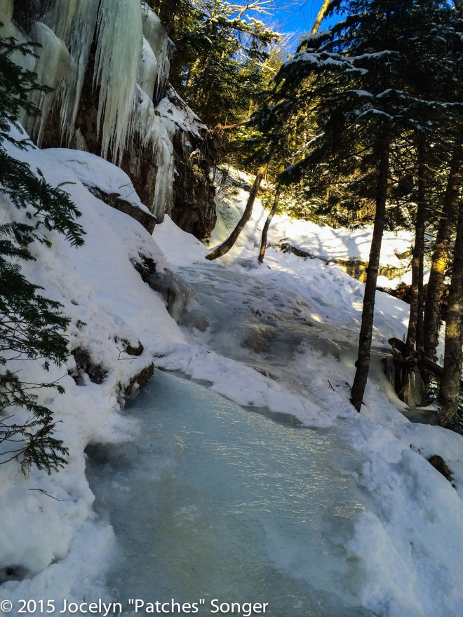 One of the icy sections of the Falling Waters trail.