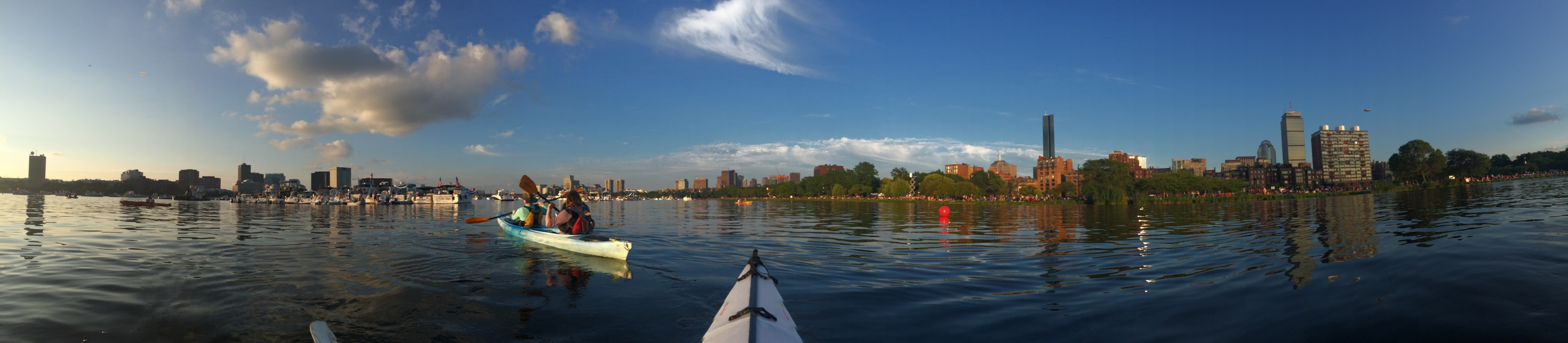 The view from my kayak as we approached the esplanade on our way to watch the fireworks!