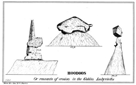 Original 1880 Illustration of Hoodoos