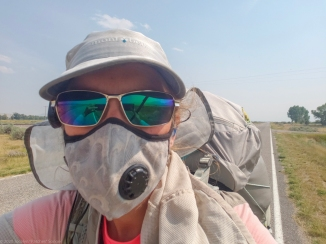 Wearing my Vogmask N-95 respirator as smoke blanketed the country during my 2018 CDT thru-hike.