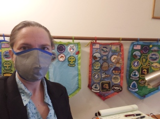 Wearing a 'MakerMask: Cover' over an N95 dust mask